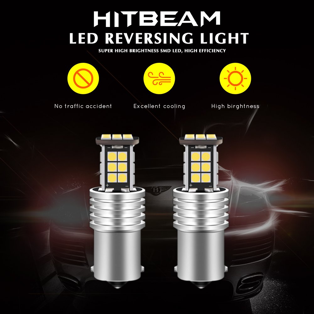 Pack of 2 HITBEAM Error Free 12-24V 3030 24-SMD WY21W 7440 T20 W21W LED Bulbs Extremely Bright 1600 Lumens for Back Up Reversing Lights 6500K LED White