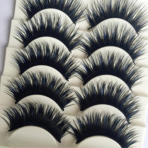OrangeA 5 Pairs Blue+Black Long Thick Cross False Eyelashes Handmade eye lashes