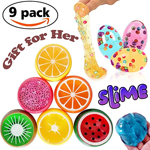 9 Pack Slime Toys - 6 x Fruit Slime +3 x Colorful Crystal Slime Putty Egg Magic Jumbo Squishy Soft Toy DIY Scented Clay Stress Relief Sludge Toy for kids Boys Girls DIY Gift for Mom
