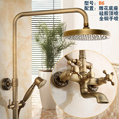 B1 NewBorn Faucet Kitchen Or Bathroom Sink Mixer Tap All Copper Antique Water Tap S Antique Elevator Shower Large Shower Water Tap Kit Gy859B8