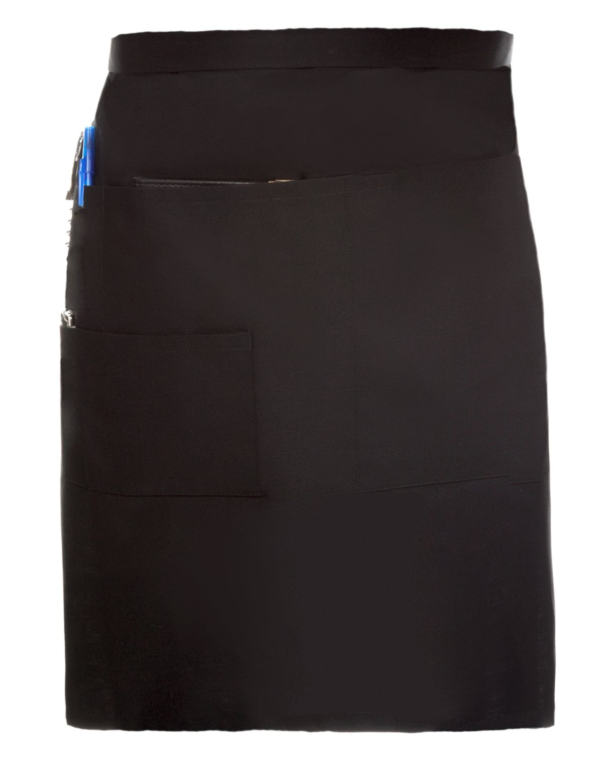 Premium Quality Restaurant Bistro Waiter Waitress Black Waist Apron Medium Length with Multiple Pockets ServiceApron Apmfbl