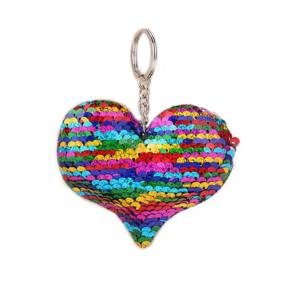 Rose Toporchid Sequins Love Keychain Couple De Dessin Anim/é R/éfl/échissant Brillant Keychain Cl/é De Voiture En Forme De Coeur Pendentif