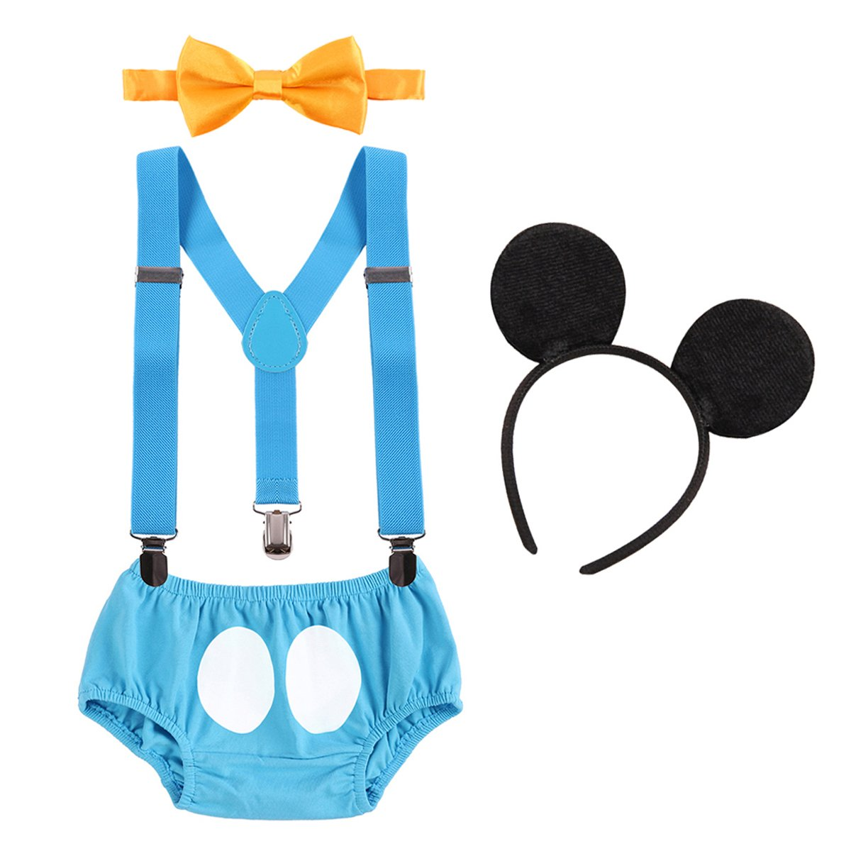 First Birthday Mickey Cake Smash Baby Boy Suspender Pants Bowtie Headband Outfit