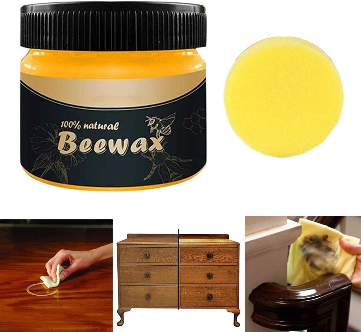 Beeswax Furniture Polish,Wood Seasoning Beewax - Natural Wood Wax Traditional Beeswax Polish for Wood & Furniture,Beewax Wood Polish and Cleaner for Furniture Care