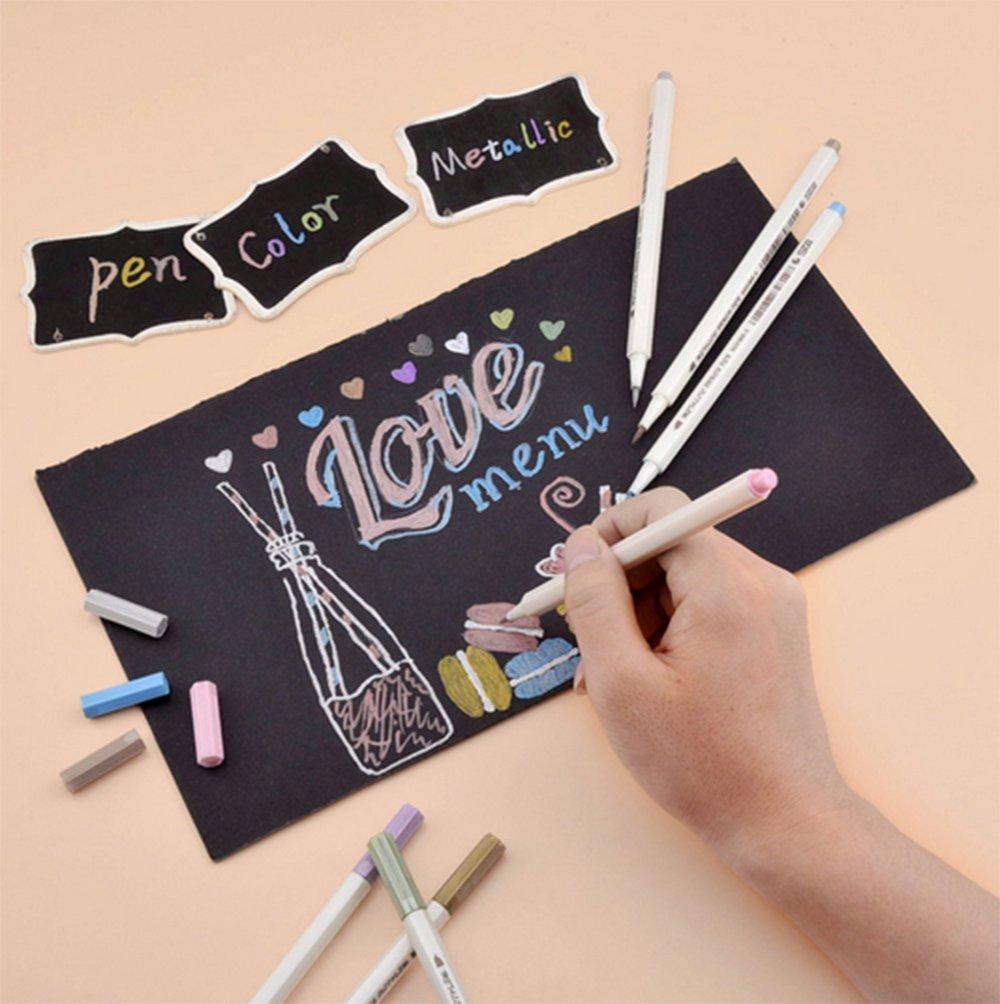 set di 10 colori Brush Tip Metallic color painting Marker per regalo di biglietti DIY photo album,Metallic pennarelli+8 carta nera kraft WCOCOW Metallic Marker Pens