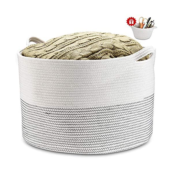 Large Cotton Rope Basket 21.7″ 21.7″ 13.8″ Blanket Basket with Handle Nursery Bin Baby Laundry Basket