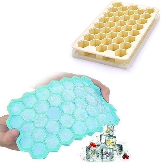 Bandejas de silicona para cubitos de hielo con tapas, 2 unidades ...