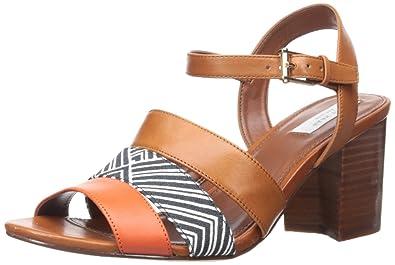 Cole Haan Women's Anisa High Sandal Dress Sandal, Acorn Leather/Optic White/ Navy