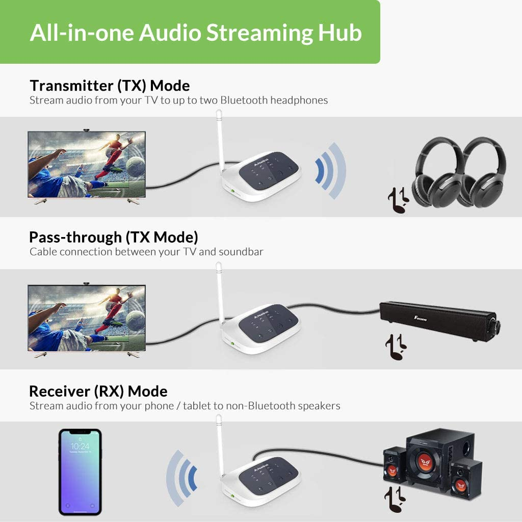 Avantree Oasis (New Version) Bluetooth 5.0 Transmitter Receiver for TV, Certified aptX Low Latency Wireless Audio Adapter for 2 Headphones, Home Stereo Speakers, Dual Link, Long Range, Optical AUX RCA: Home Audio & Theater