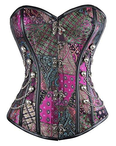 Kiwi-Rata Women's Spiral Steel Boned Vintage Corset Steampunk Gothic Bustier Waist Cincher Corset Vest,Vintage Chains Purple,Large]()