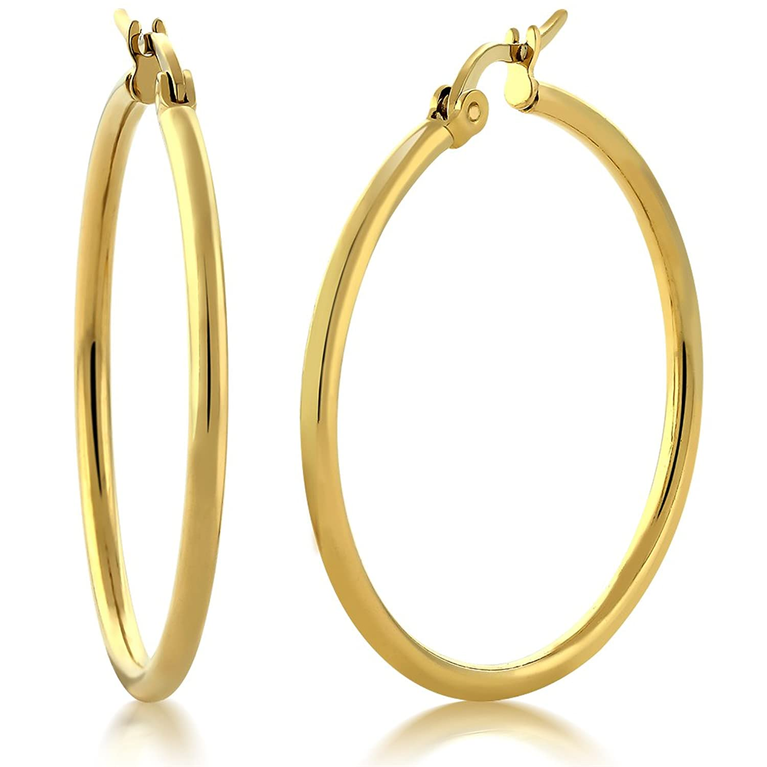 amazon hoop gold diameter steel com stainless earrings yellow jewelry dp plated jewellery stunning