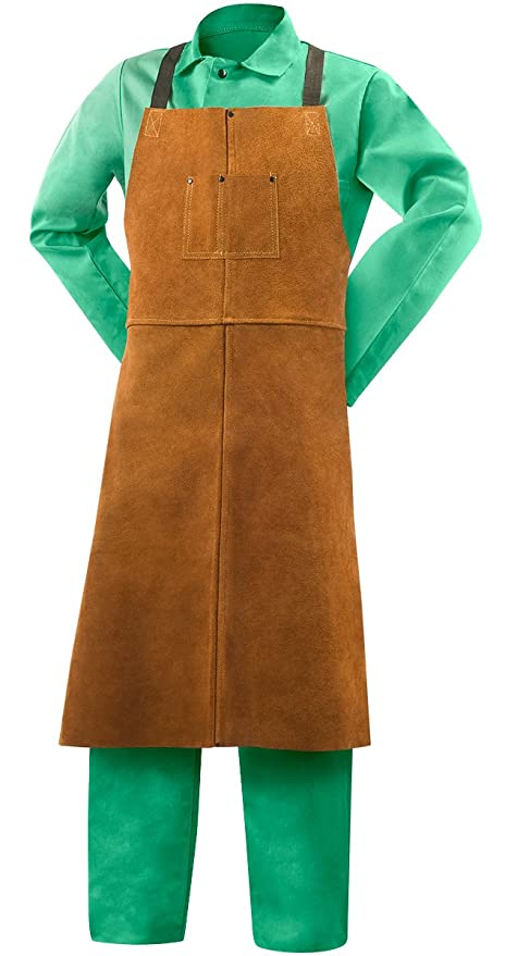 Official Website Cowhide Leather Welded Apron Thickened And Big Size Welder Protective Apron Cowhide Protective Safety Apron Pure White And Translucent Security & Protection