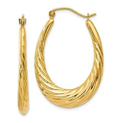 Amazon Com 14k Yellow Gold 4 00mm Twisted Oval Shrimp Hoop Earrings