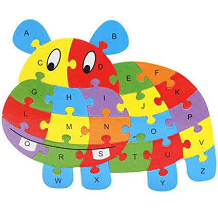 NUOFENG Multicoloured 26 Patterns Wooden Animal Alphabet Early Learning Puzzle Jigsaw for Kids Baby Educational Learing Intelligent Toys High(None Color)