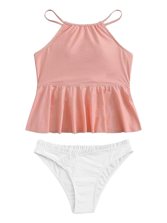 Multi SweatyRocks Women's Sexy Bikini Swimwear Lace Up Solid color Ruffled Flounce Halter Tankini Set