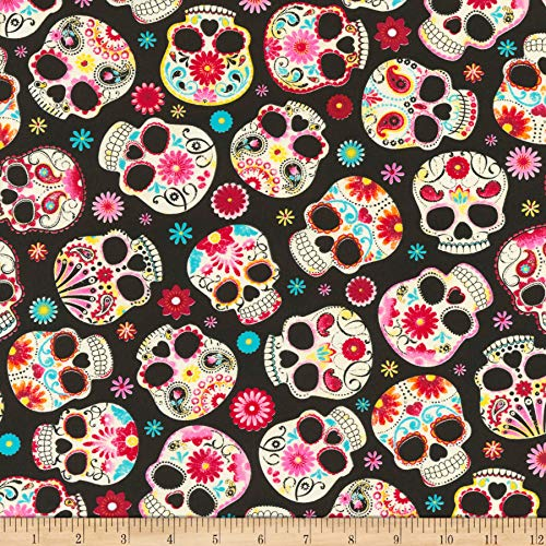 Timeless Treasures Jersey Knit Sugar Skulls Black Fabric by The Yard