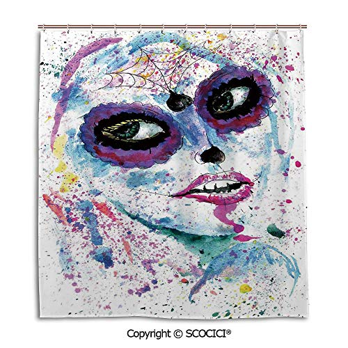 Simple bathroom curtain personality privacy convenience,66X72in,Cute Girls,Grunge Halloween Lady with Sugar Skull Make Up Creepy Dead Face Gothic Woman Artsy,Blue Purple,Used for bathing privacy]()