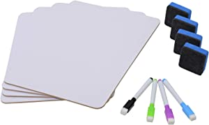 Whiteboard Small White Board, Children Learning Office Home Tablet, Dry Erase Board Message Board, Double-Sided White 4-Piece Dry Wipe White Board