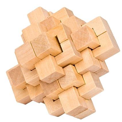 Ahyuan Handmade Wooden Puzzle 24 PCS Interlocking Brain Teasers Toy  Intelligence Game Wisdom Logic Mind Challenge Brainteaser Scientific  Training Burr