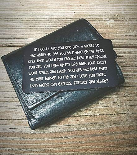 Husband Anniversary Gift for Him - Engraved Wallet Inserts - Perfect Birthday Gifts for Men! Metal Wallet Card Love Note, Anniversary Gifts for Men, Boyfriend, Husband Gifts from Wife