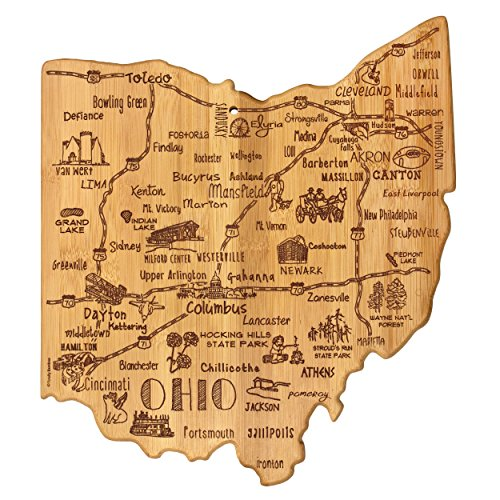 "Totally Bamboo Destination Series Ohio State Shaped Serving and Cutting Board, Bamboo, 13.5"" x 12"""