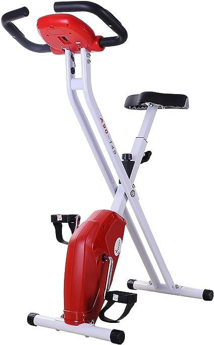 HOMCOM Bicicleta Estática Plegable Bicicleta de Ciclismo Vertical con Resistencia de 8 Niveles Pantalla LCD Asiento Ajustable Soporta hasta 110 kg 83x43x110 cm Rojo: Amazon.es: Deportes y aire libre
