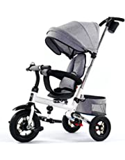 One Bond Folding Seat Rotatable Kids Tricycle, Detachable Height Adjustable Child Pedal Trike Bike Bicycle, 8 Months-5 Years Old Baby Trolley with Sunshade (Color : Gray)