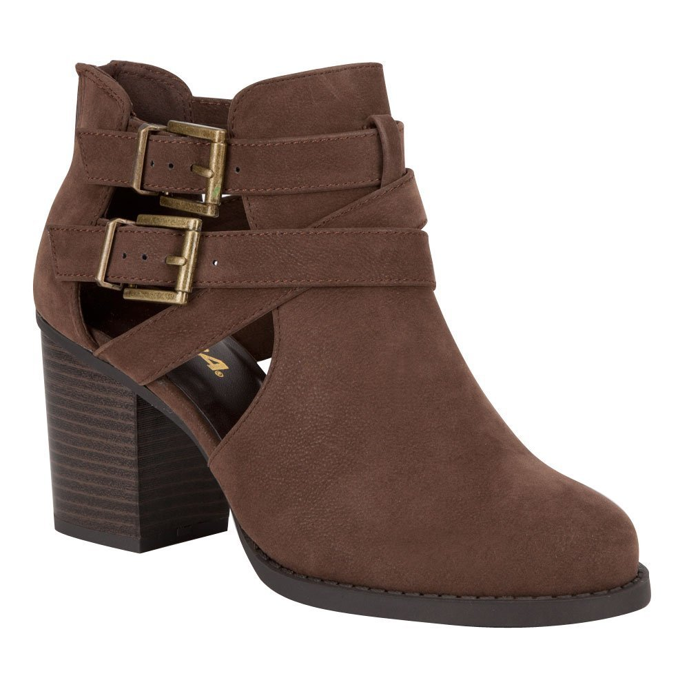 Ankle Bootie with Low Heel and Cut-Out Side Design Brown 7.5