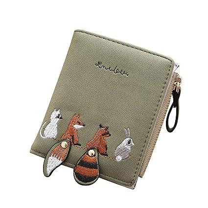 Mini Monedero Mujer - Dxlta Cuero de PU Patrón de Bordado Fox de Cola Grande Billetera Corta, Portatarjetas Zero Pouch