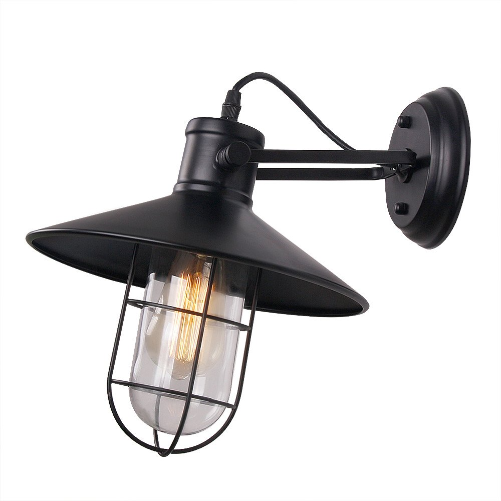 Anmytek Wall Light Fixture Industrial Retro Rustic Loft Antique Wall Lamp Edison Vintage Pipe Wall Sconce Decorative Fixtures Lighting Luminaire with Glass Cover (Bulbs not Included) (Glass Cover)