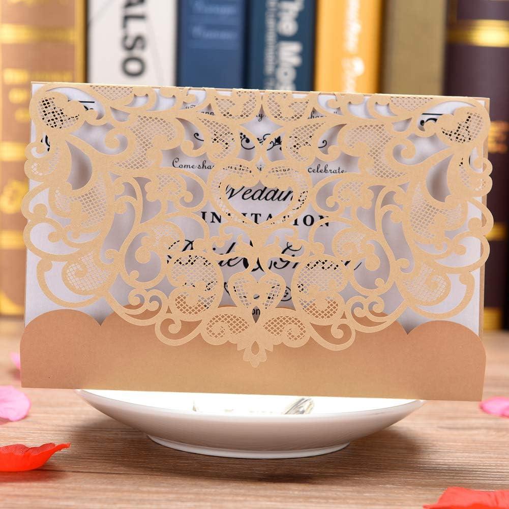 Invitación de boda Tarjeta 50unidades eleva Kit de cortado a láser invitaciones de boda con en blanco imprimible tarjetas y sobres, dorado