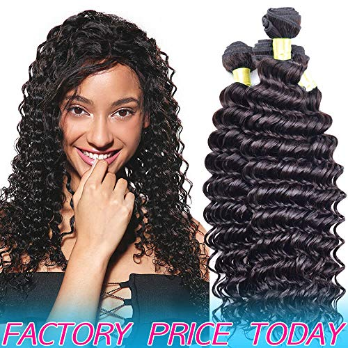 Real Brazilian Virgin Human Hair Bundles Deep Wave Cheap 8A Peruvian Remy Hair extensions 2019 Best Indian Unprocessed Hair Weave Natural Black Color 100% Malaysian Wavy Hair Weft One Piece 10 Inches (Best Remy Hair Extensions 2019)