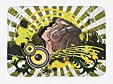 Lunarable Music Bath Mat, Abstract Illustration of a DJ Disco Headphone Dance Theme Striped Background Print, Plush Bathroom Decor Mat with Non Slip Backing, 29.5 W X 17.5 W Inches, Green Brown