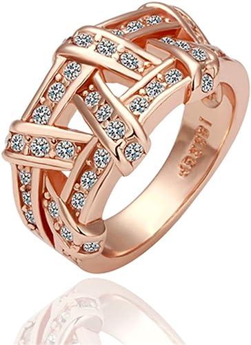 2pcs Plated 14k Rose Gold Diamante Rings Set Elegant Women Wedding Jewelry Size