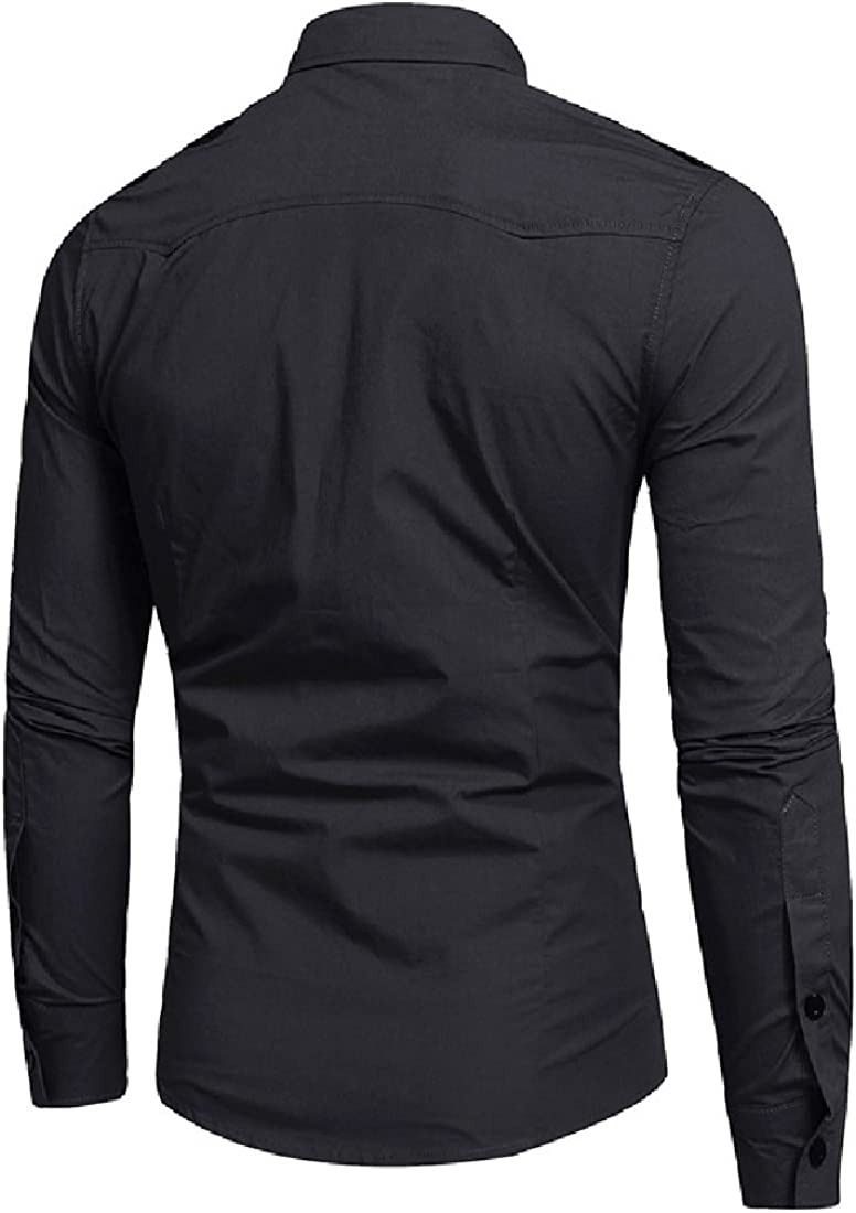 Winwinus Mens Cotton Slim-Fit Fall Winter Long-Sleeve Pockets Casual Shirts