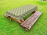 Ambesonne Cactus Outdoor Tablecloth, Mexican Inspired Indigenous Foliage Abstract Chevron Nature Theme, Decorative Washable Picnic Table Cloth, 58 X 84 inches, Green Pistachio Green Caramel