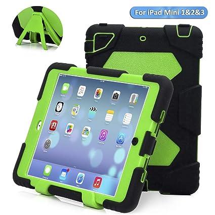 new style d589b edfb1 ACEGUARDER iPad Mini Case,iPad Mini 2 Case, Rainproof Shockproof Kids Proof  Case for iPad Mini 1 Mini 2&3(Black-Green)