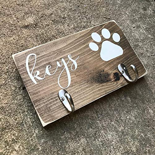 (CELYCASY Key Hook Sign Dog Leash Hook Dog Lover Fur Parents Gift Key Organizer Wooden Sign entryway Sign Key Holder Leash Holder)