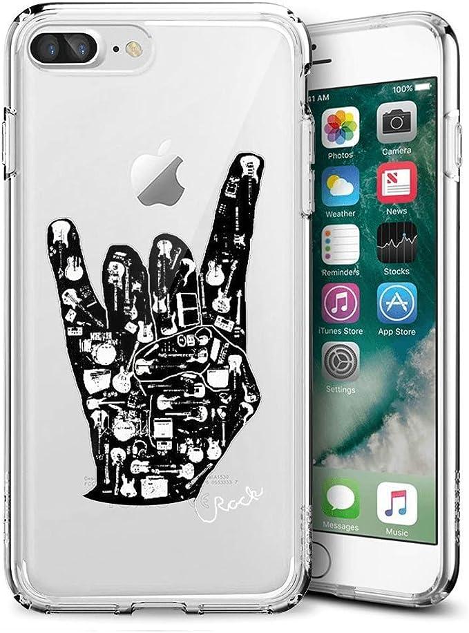 iPhone 7 8 Clear Coque de Boxe Grenouille Doux Ultra Fine Absorption des Chocs Housse de Protection pour iPhone 7 8 iPhone 7 Plus 8 Plus Rock Gesture