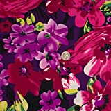 Wild Flowers Strech Jersey Knit Knit Fuschia Purple Print Fabric