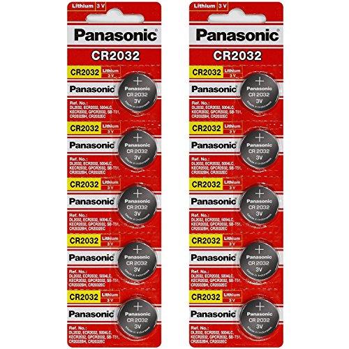 [ 10 pcs ] -- Panasonic Cr2032 3v Lithium Coin Cell Battery Dl2032 Ecr2032 ( Pack of 10 ) (3 Volt Coin Cell Battery)