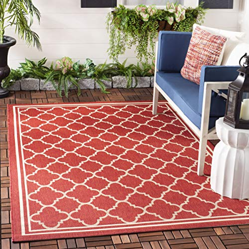 (Safavieh Courtyard Collection CY6918-248 Red and Bone Indoor/ Outdoor Area Rug (4' x 5'7