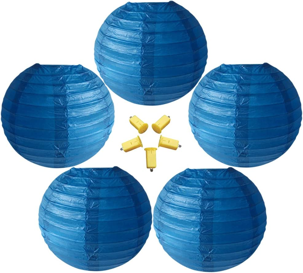 Neo LOONS 5 Pack 12 Inch Sapphire Blue Round Chinese/Japanese Paper Lanterns Metal Framed Hanging Lanterns with Warm White LED Lights- for Home Decor, Parties, Weddings and DIY