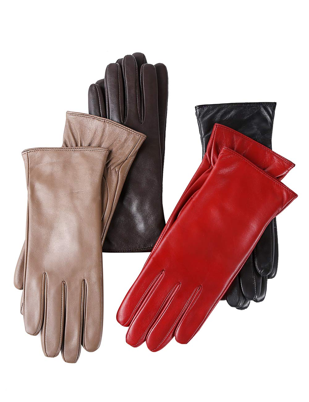 Super-soft Leather Winter Gloves for Women Full-Hand Touchscreen Warm 100% Cashmere Lined Perfect Appearance PAITE PTW001-009
