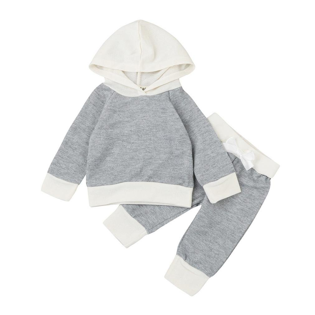 Allywit 2Pcs Toddler Infant Baby Girls Boys Clothes Set Hooded Tops+Pants Outfit Clothes