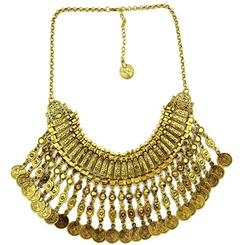 iVan Womens Fashionable Vintage Exaggerated Coins Necklace Elegant Costume Jewelry(Color Golden) (King Of The Kingdom Boys Costume)