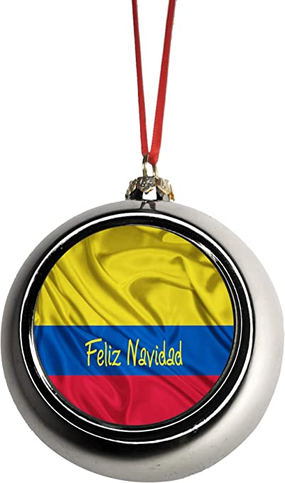 Amazon Com Lea Elliot Inc Flag Colombia Feliz Navidad Colombian Flag Bauble Christmas Ornaments Silver Bauble Tree Xmas Balls Home Kitchen