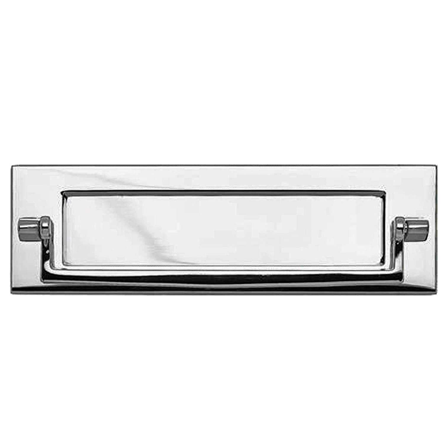 Polished Chrome 250mm Traditional Letterbox Knocker White Hinge