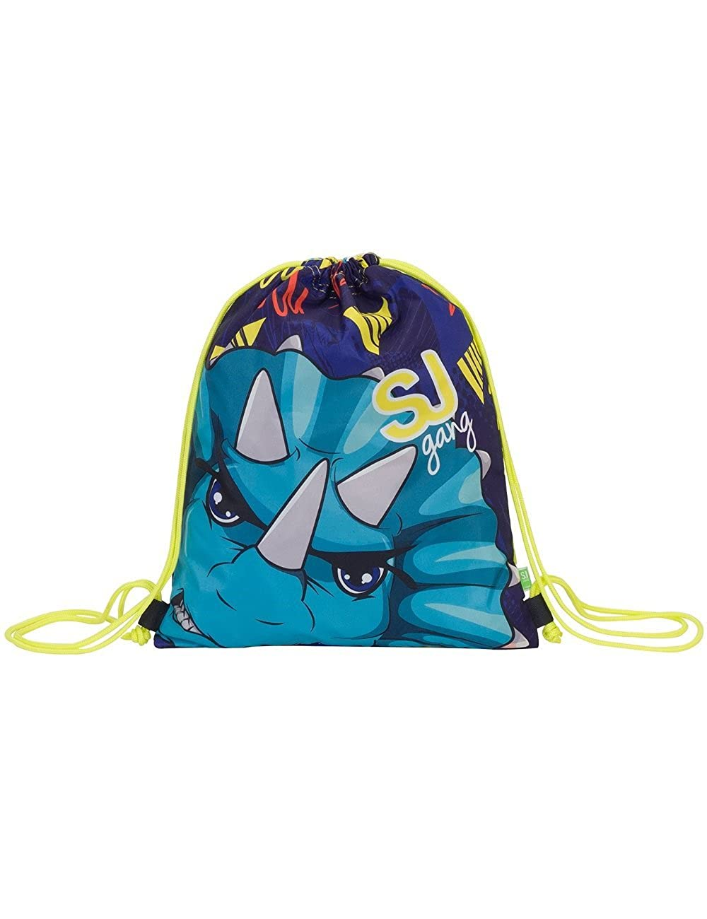 School Gymsack Drawsting Backpack SEVEN SJ ANIMALS Blue Yellow Shark