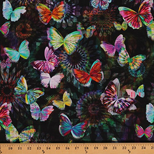 Cotton Crystalia Main Print Onyx Butterfly Butterflies Cotton Fabric Print by the Yard ()